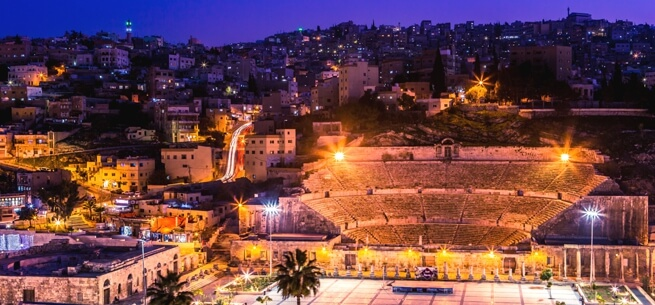 Amman Theatre at night Jordan